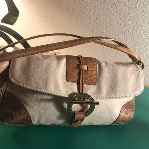Lauren Ralph Lauren Beige Canvas Shoulder Bag